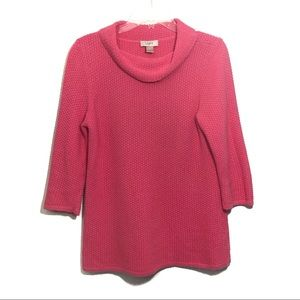 Loft pink waffle knit cowl neck tunic pullover